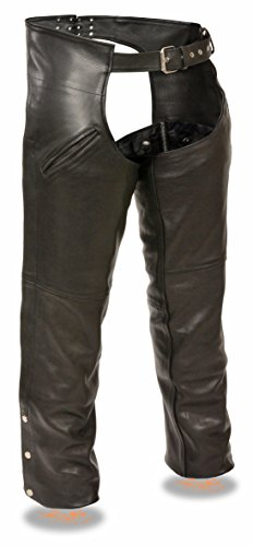Milwaukee Slash Pocket Leather Chaps with Removable Thermal Liner (Black, Small)