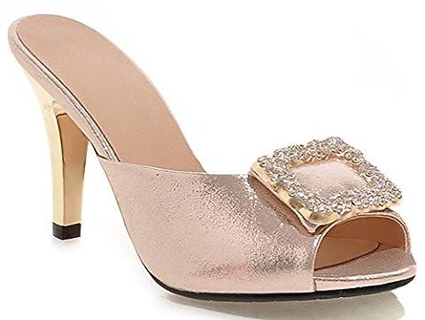 IDIFU Women's Sexy Rhinestone Stiletto High Heels Slide Sandals Peep Toe Party Mules Gold 8.5 B(M) US