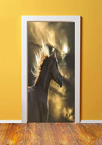 Horse Decor 3D Door Sticker Wall Decals Mural Wallpaper,Chestnut Horse Profile on Dramatic Cloudy Sunset Sky Strong Wild Young Mammal Decorative,DIY Art Home Decor Poster Decoration 30.3x78.14367,Brow