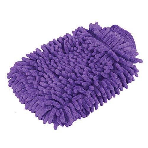 Premium car wash microfiber chenille mitt. Super auto absorbent. Ultrafine sponge fiber glove. Professional cleaning at home, kitchen, hand car washing care. Soap chemical products resistant. (Purple)