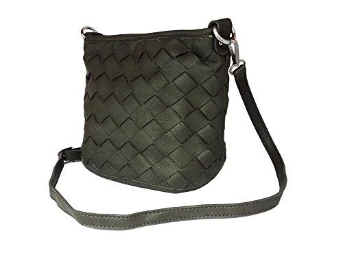 Loria tressé femmes Sac coleur poches Gris à Little Weave La à main en les sac femmes bandoulière gris gqw8dxW5