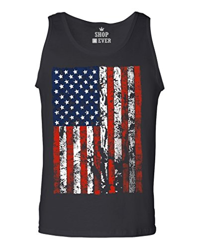 Shop4Ever United States of America Flag Vintage Men's Tank Top USA Flag Tank Tops Large Black 13500