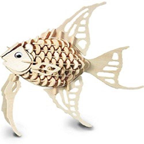 Woodcraft Angel Fish Construction Wooden 3D Model - Wooden Kit Construction Woodcraft