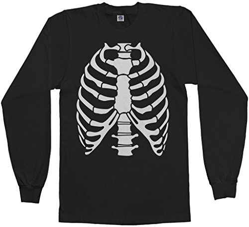 Rib Cage Tee (Threadrock Men's Skeleton Rib Cage Halloween Costume Long Sleeve T-Shirt M Black)