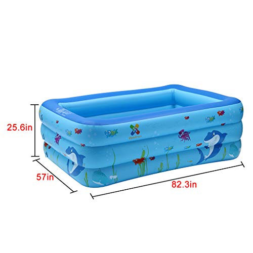 BOOMdan Shark Children's Inflatable Pool Home Edition Large Inflatable Shark Swimming Pool Kids Water Play Fun 82IN for Family by BOOMdan (Image #1)