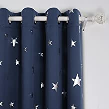 Deconovo Solid Thermal Insulated Blackout Curtains for Bedroom with Silver Star Pattern 52 By 63 Inch Navy Blue 1 Pair