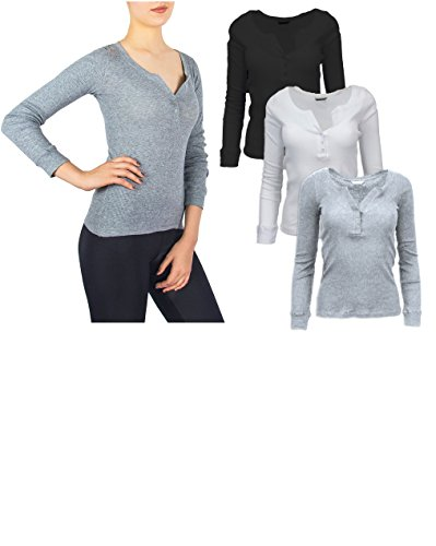 Sexy Basics Women's 3 Pack Crew Henley Neck Long Sleeve Athletic T-Shirt (M, 3 Pack- Black /White/ Grey)