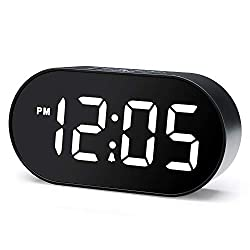 Plumeet Digital LED Alarm Clock with Dimmer and Snooze, 2 Level Alarm Volume Optional, Large White Digit Display Bedside Clocks with USB Port Phone Charger, Simple Operation (White)