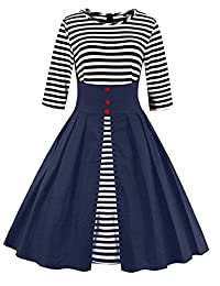 Wellwits Women's Stripes Vintage Retro 1950s Style Swing Cocktail Dress