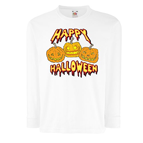 T-Shirt for Kids Happy Halloween! Party Outfits & Costume - Gift Idea (12-13 Years White Multi Color)