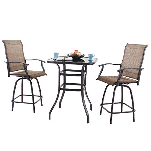 PHI VILLA 3 PC Swivel Bar Stools Set Bar Height Bistro Sets Outdoor, 2 Chairs and 1 Table (Bar Height Table Stools And)