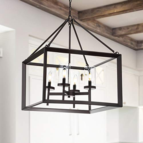 """JONATHAN Y JYL7413A Anna 21"""" 4-Light Metal/Glass Pendant, Oil Rubbed Bronze/Clear"""