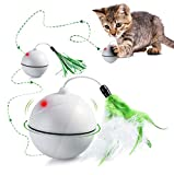 Interactive Cat Toys, Automatic Self Rotating LED Light Cat Chaser Ball, Rechargeable Entertainment Exercise Toy with Detachable Feather and Colored Ribbon (White)