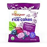 Happy Baby Organic Rice Cakes Blueberry & Beet, 1.4 Ounce Bag (Pack of 10) Puffed Brown Rice Crackers, Baby Snacks or Toddler Snacks, No Added Colors, Encourages Self-Feeding (Packaging May Vary)