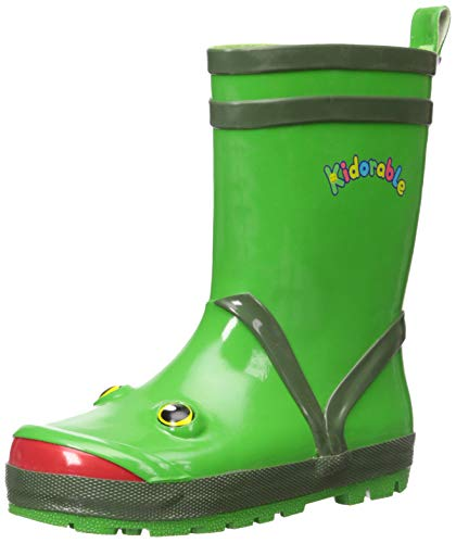 (Kidorable Boys Frog Rubber Rain Boots, Green 7 M US)