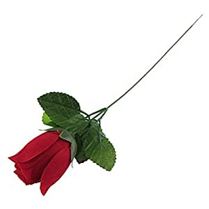 ChatAngle(TM) Shopping Time !New 2pcs Red Cloth Petal Green Plastic Leaf Artificial Rose for Decoration