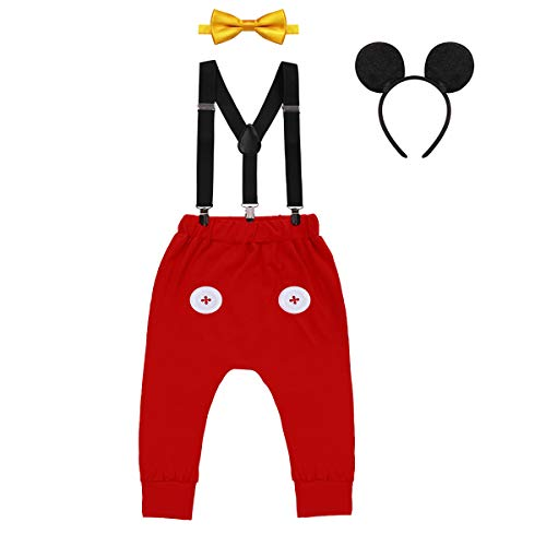 Baby Boys First Birthday Mickey Costume Cake Smash Outfits Suspenders Bloomers Bowtie Mouse Ear Photography Props 4PCS Set 002 Red+Yellow Buttons 12-18 Months