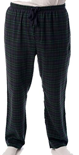 - #followme Mens Flannel Pajama Pants 45905-8, Navy Green - Plaid, Large