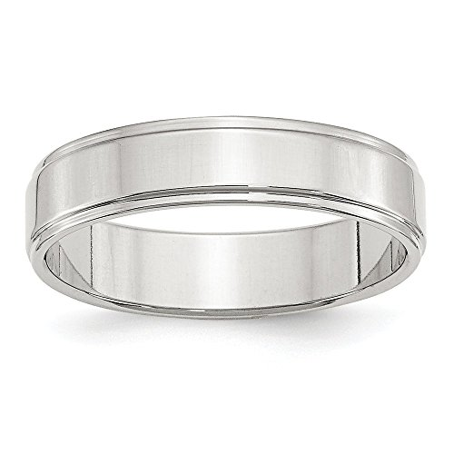 JewelrySuperMart Collection Sterling Silver 5mm Plain Flat Step Down Classic Comfort-fit Wedding Band - Size 11.5