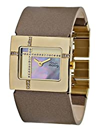 Moog Paris Mondrian Women's Watch with Gold Mother of Pearl Dial, Brown Genuine Leather Strap & Swarovski Elements - M44372F-005