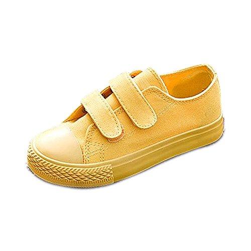 OCHENTA Kinder Mädchen Jungen Sneaker Turnschuh Sportschuhe Klettverschluss Freizeit Gelb