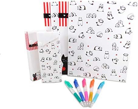Panda Cat - Carpetas de plástico con 2 bolsillos, 4 estuches ...