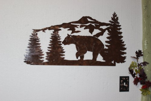 Bear and Mountain Pine Tree Scene Large Metal Wall Art Country Rustic Home Decor