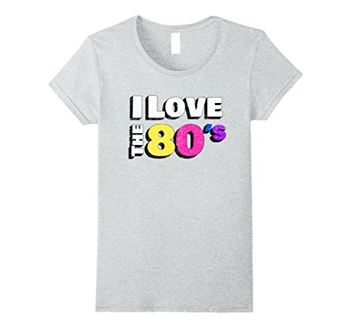 Womens I love the 80s Shirt Retro Eighties Fancy Dress T-Shirt Large Heather Grey