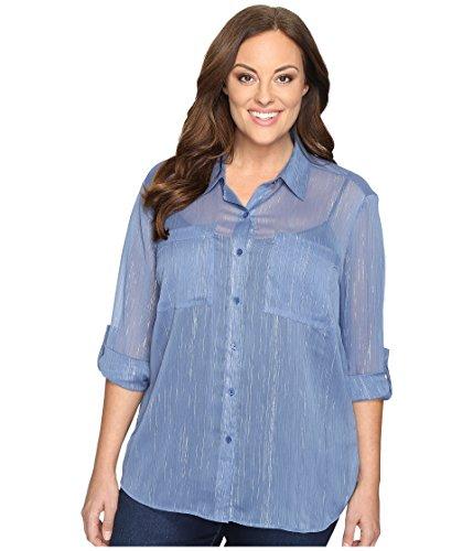 MICHAEL Michael Kors Womens Plus Metallic Sheer Button-Down Top Blue - Michael Kors Outlet Discount
