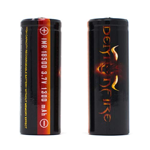IMR 18500 1300mAh 3.7V High Drain LiMn Demonfire Rechargeable Battery with Button Top (2 Pieces) (Renewed)