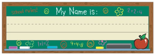 Eureka Self-Adhesive Name Plates, Set of 36, Chalkboard Design, 9.5 x 3.25 Inches (833120) - DISCONTINUED by Manufacturer