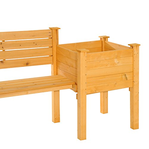 NEW Yellow Fir wood Wooden Garden Bench W/ Flower Bed Planter Patio Outdoor Furniture by Baskets, Pots & Window Boxes (Image #5)