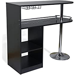 Homegear Kitchen Cocktail Bar Table - Black