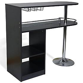 Homegear Kitchen Cocktail Bar Table – Black