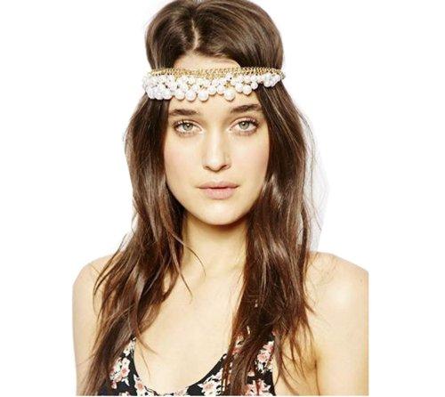 WIIPU Chic Gold Multi Pearl Chain White Bead Crown Tikka Head Hair Cuff Headband -