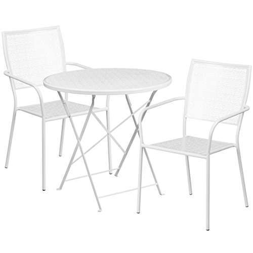MFO 30'' Round White Indoor-Outdoor Steel Folding Patio Table Set with 2 Square Back Chairs
