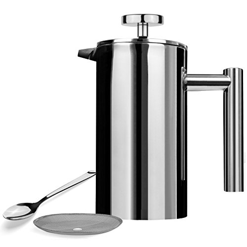 AMOVEE French Press Coffee Maker Tea Maker, 304 Stainless Steel Double Insulation, with Espresso Spoon and Bonus Screen (350ML, 12 oz) by AmoVee