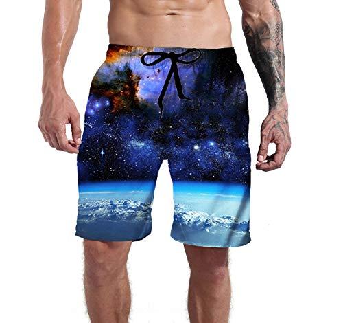 b69f91d0353c1 Mens Blue Swim Trunks Casual Cool Water Galaxy Surf Sports Classic Long Board  Shorts Pool Water Bathing Suits XXL