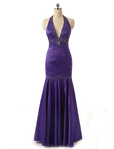 Sarahbridal Women's Halter Taffeta Porm Dresses Long Formal Evening Ball Gowns Purple US2