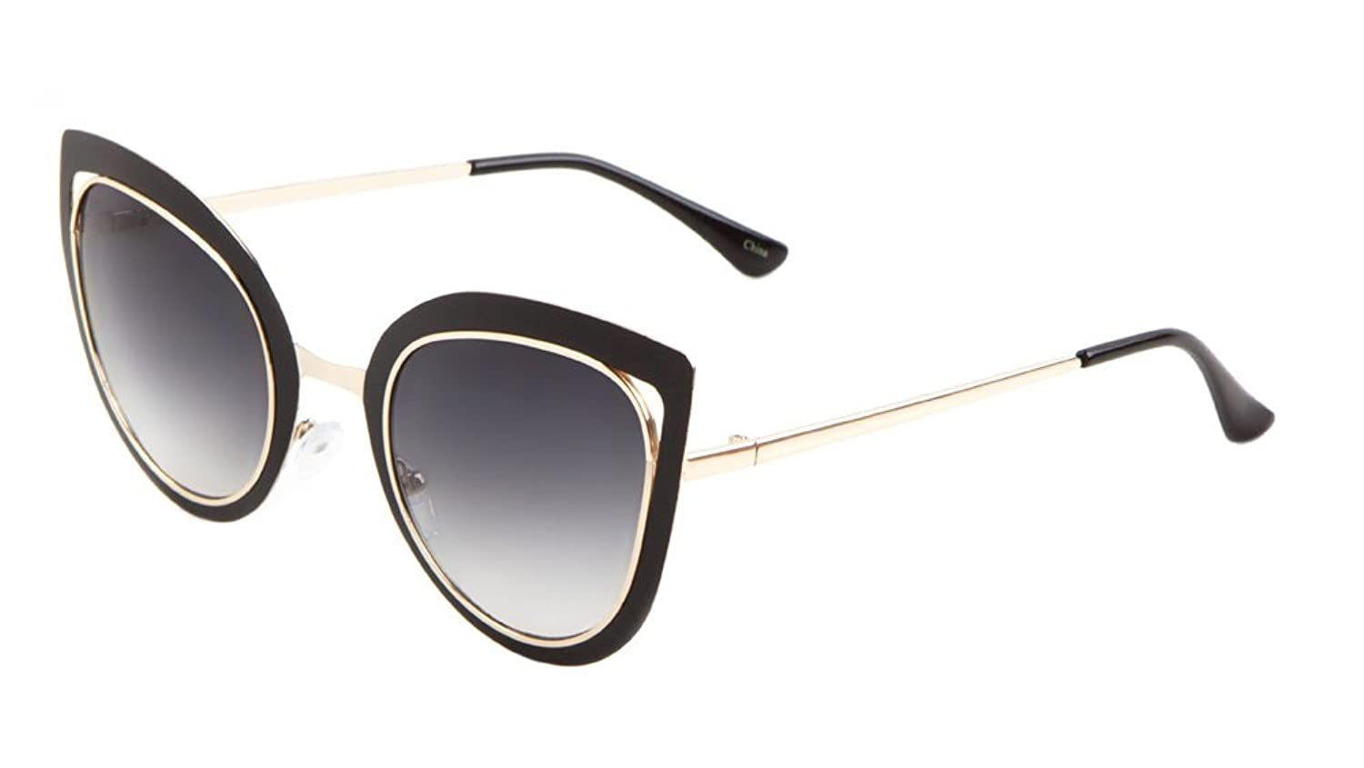 Sunglasses Luxe. Metal Cat Eye Sunglasses. (BLACK GOLD SMOKE)