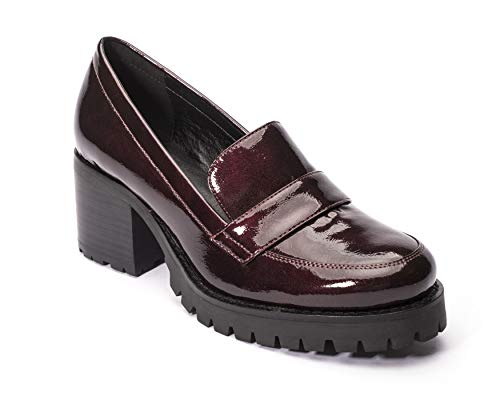 Shoe the Women's Burgundy and Loafer Leighton Heeled Jane fTqx7Uw8n