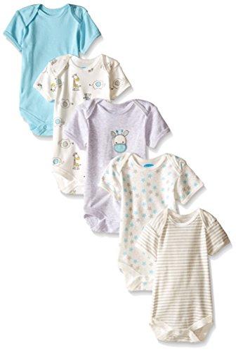BON BEBE Baby Best Friends Assorted Bodysuit Set (Pack Of 5), Neutral, 3-6 Months (Bodysuit Friend Infant Best)