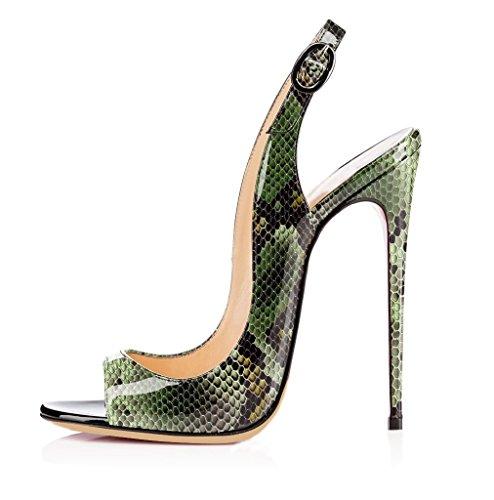 EDEFS Femmes Artisan Fashion Sandales Sandales Décolletés Bout Haut Ouverts Chaussures Noir à Talon Haut de 120mm Noir Python-Vert 1dd6f28 - jessicalock.space