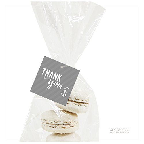 Andaz Press Sail Away Nautical Birthday Collection, Thank You Anchor Square Gift Tags, 24-Pack