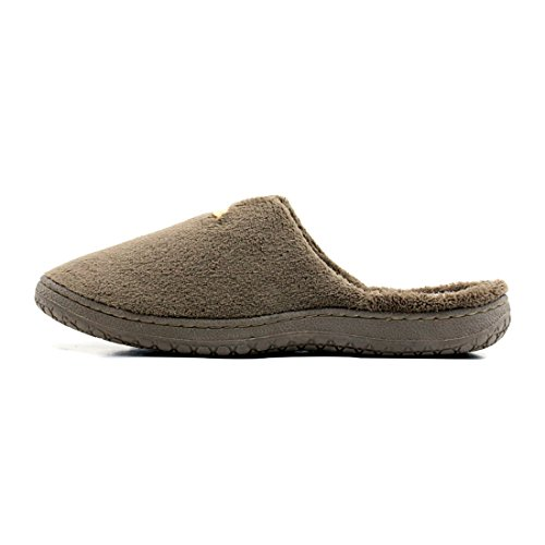 Starfarm Mans Clog Slippers Fleece Warm Indoor Outdoor Cosy House Slipper In Marine Koffie