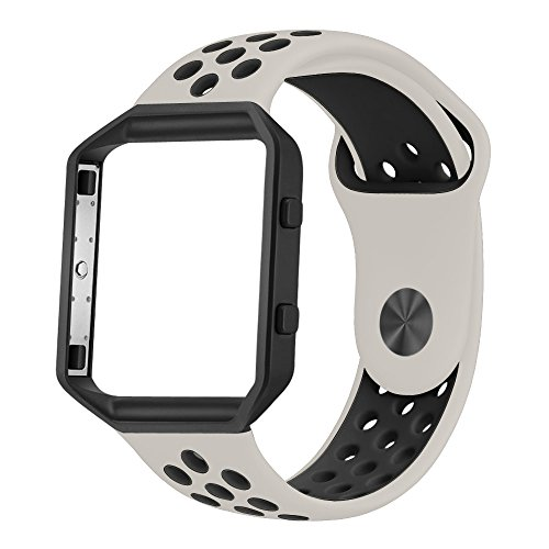 UMTELE Soft Silicone Replacement Strap with Black Frame for Fitbit Blaze Smart Fitness Watch, Large, Light (Sporty Bone)