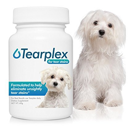 Tear Stain Supplement - Tearplex for Dogs and Cats , Natural Tear Stain Product - Made In The USA, 100% Tylosin Free , Veterinarian Trusted - Beef Flavored (Best Dog Food For Maltese Tear Stains)
