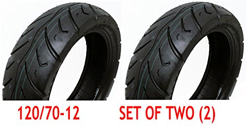 SET OF TWO: Tire 120/70-12 Tubeless Front/Rear Motorcycle Scooter Moped + 2 FREE TR87 Bent Valve Stems by MMG (Image #1)