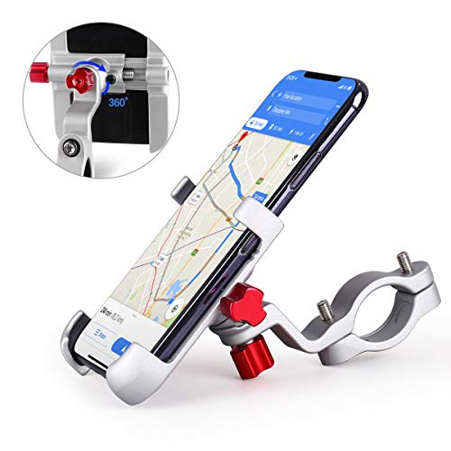 HOMEASY Universal Bike Phone Mount, Motorcycle Handlebar Cellphone Bicycle Holder Sliver Adjustable, Fits iPhone Xs|XS Max, XR, X, Galaxy S9, Holds Phones from 3.5-7