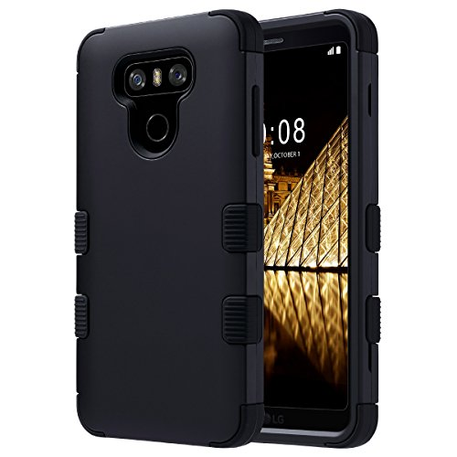 ULAK LG G6 Case, 3 in 1 Shield Shock Absorbing Case with Hybrid Cover Soft Silicone + Hard PC Material Design for LG G6 2017 Release (Black)]()